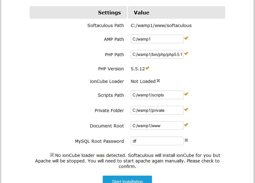Installing Softaculous in WAMP Server