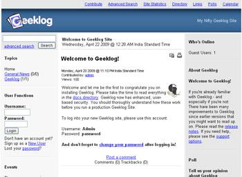 Webuzo for Geeklog full screenshot