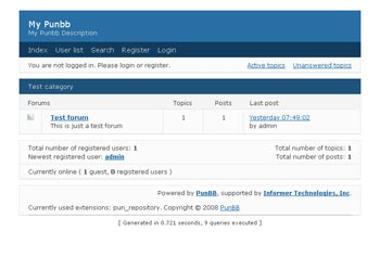 Webuzo for PunBB full screenshot