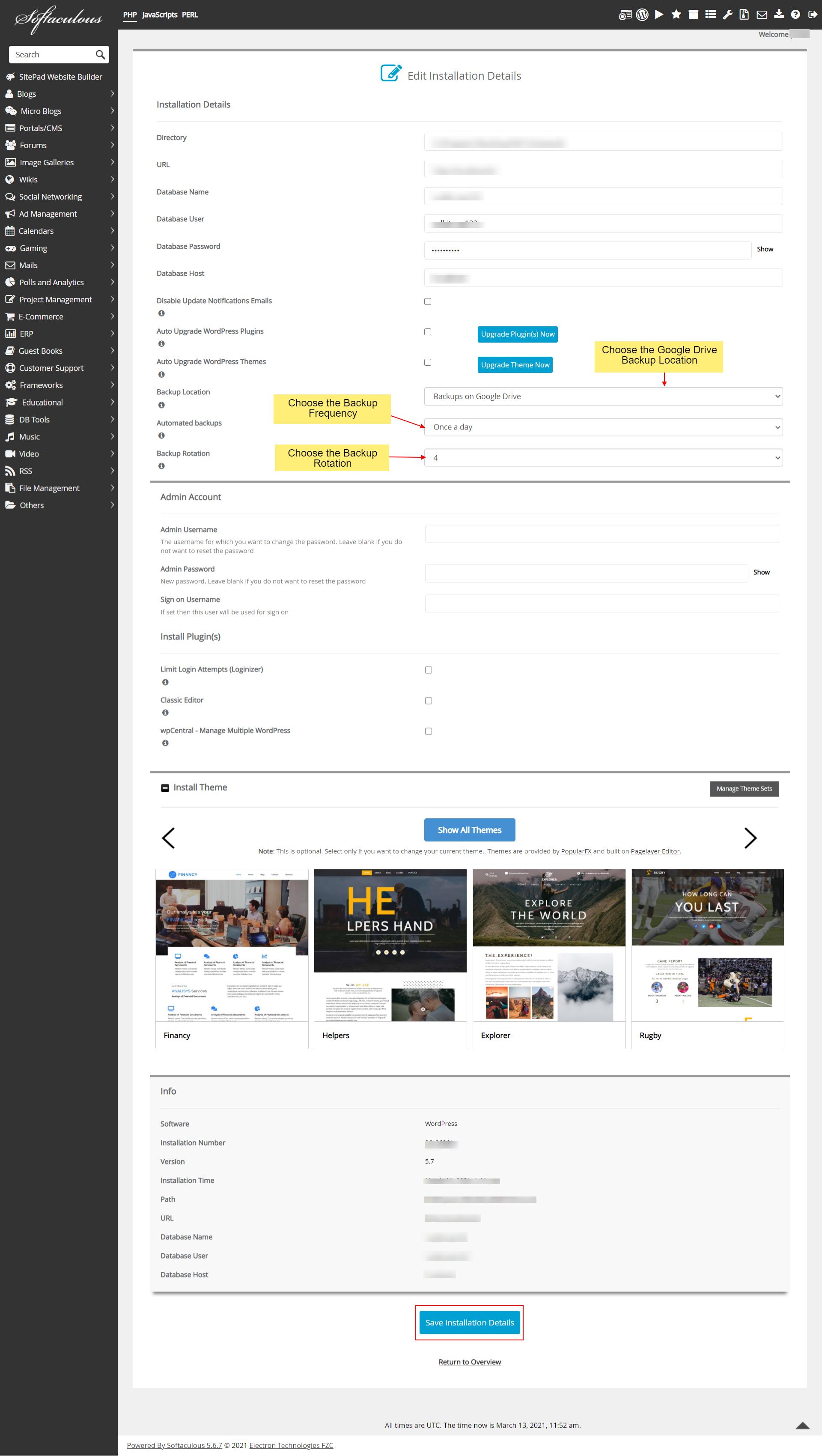 Backup WordPress Site to Google Drive Using Softaculous