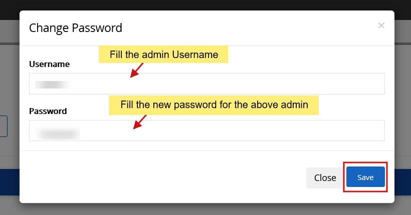 Fill in admin username and password