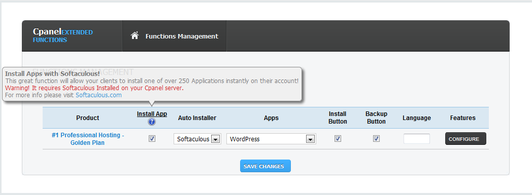 ModulesGarden cPanel Extended for WHMCS with Softaculous